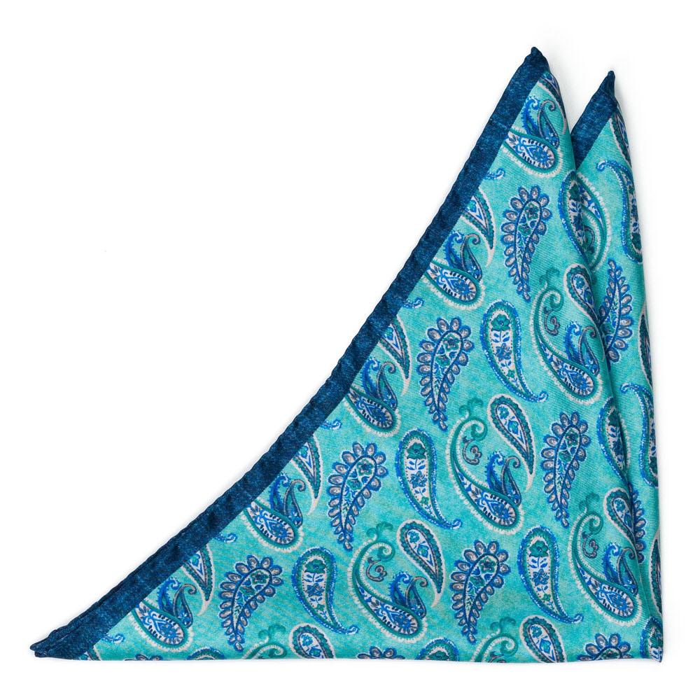 Bröstnäsduk i Siden - Blåvit paisley på turkos - Notch FANTASMA Turquoise