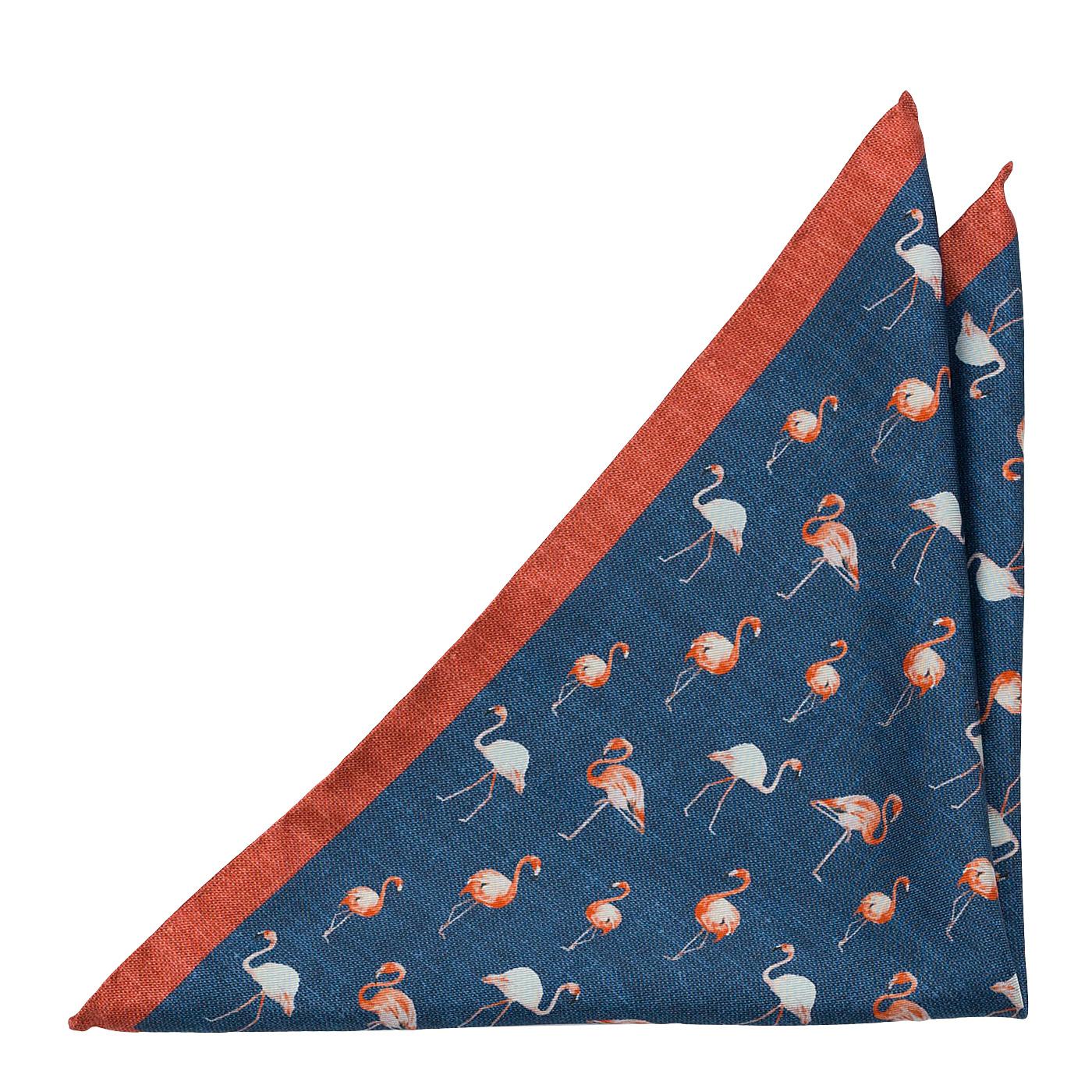 Bröstnäsduk i Siden - Vita och orange flamingor på midnattsblått