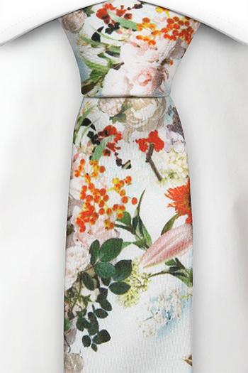 Smal Slips i Siden - Orangea, röda och skära blommor på vitt