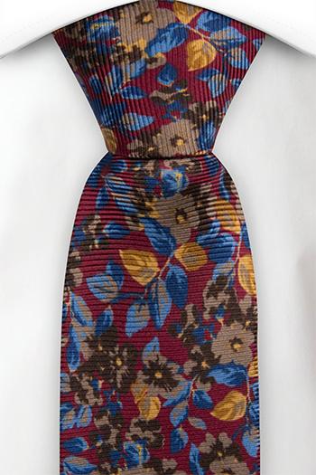 Slips i Siden - Blommor & blad i blått, brunt och guld på vinrött