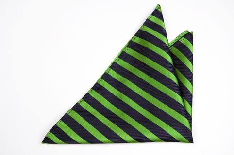 Bröstnäsduk i Siden - Mörkblå botten och ränder i ljusgrönt - Notch FLORENTINE