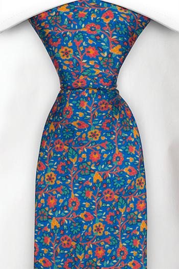 Slips i Siden - Små, röda, gröna & orangea blommor på blå bas