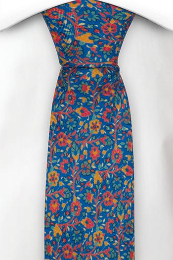 Smal Slips i Siden - Små, röda, gröna & orangea blommor på blå bas