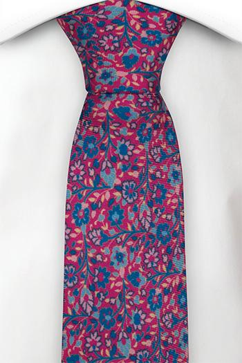 Smal Slips i Siden - Små, skära & turkosa blommor på rosa bas