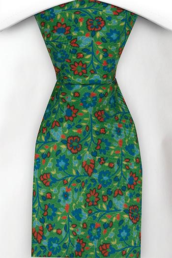 Slips i Siden - Små blå & röda blommor på grön bas - Notch FLORIDO Green