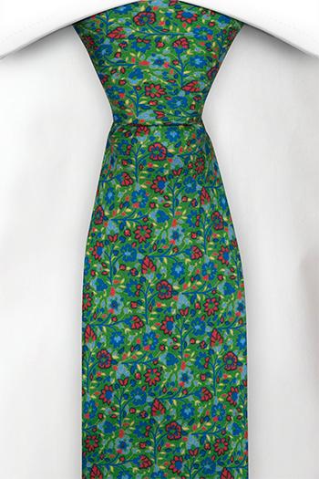 Smal Slips i Siden - Små blå & röda blommor på grön bas - Notch FLORIDO Green