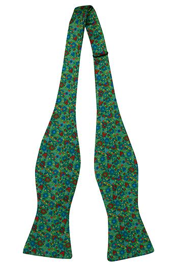 Oknuten Fluga i Siden - Små blå & röda blommor på grön bas - Notch FLORIDO Green