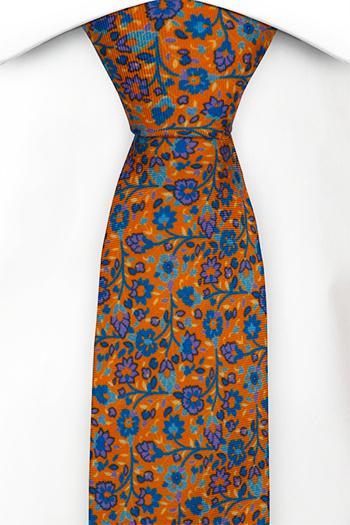 Smal Slips i Siden - Små, lila & blå blommor på orange bas