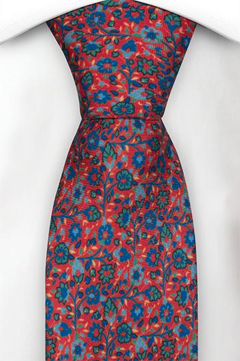 Slips i Siden - Små, blå & gröna blommor på ljusröd bas - Notch FLORIDO Red