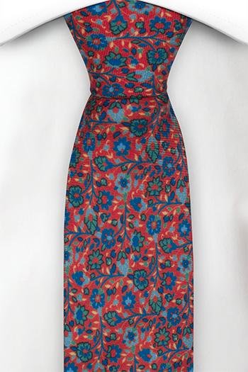 Smal Slips i Siden - Små, blå & gröna blommor på ljusröd bas - Notch FLORIDO Red