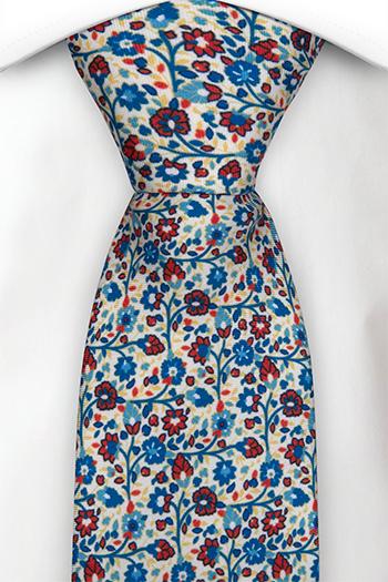 Slips i Siden - Små, blå & röda blommor på vit bas - Notch FLORIDO White