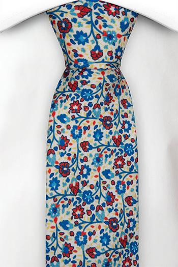 Smal Slips i Siden - Små, blå & röda blommor på vit bas - Notch FLORIDO White
