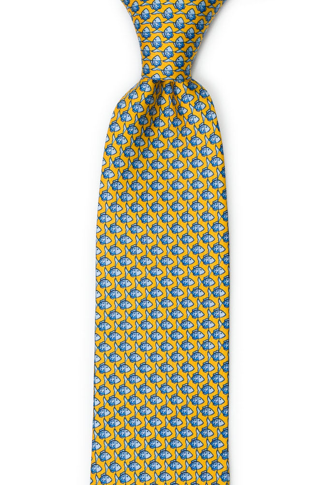 Slips i Siden - Småmönstrat, blått fiskmotiv på gult - Notch FORZAPESCE Yellow