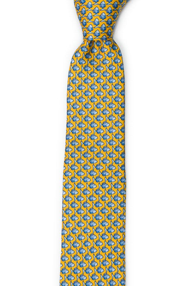 Smal Slips i Siden - Småmönstrat, blått fiskmotiv på gult