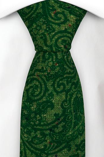 Slips i Ull - Snirkligt mönster i toner av grönt - Notch FRONDOSO Green
