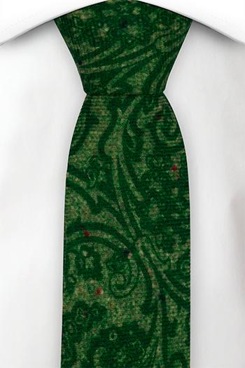 Smal Slips i Ull - Snirkligt mönster i toner av grönt - Notch FRONDOSO Green