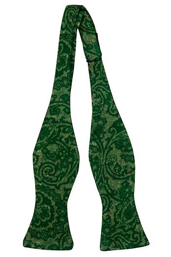 Oknuten Fluga i Ull - Snirkligt mönster i toner av grönt - Notch FRONDOSO Green