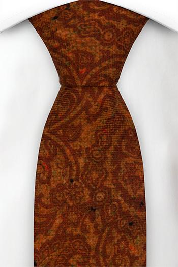 Slips i Ull - Snirkligt mönster i roströd och orange - Notch FRONDOSO Rusty red