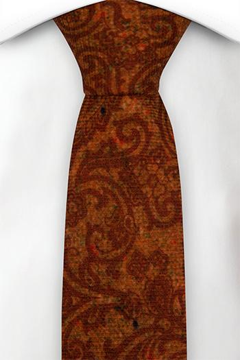 Smal Slips i Ull - Snirkligt mönster i roströd och orange