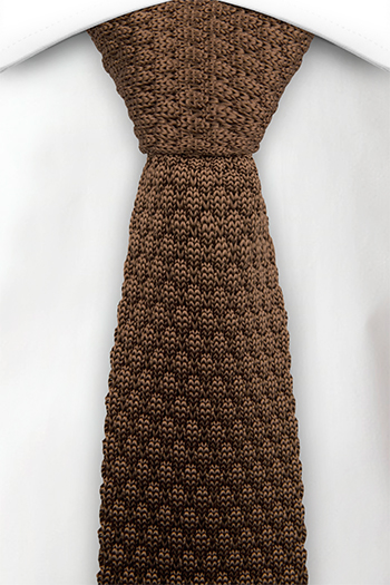 Smal Slips i Stickat - Brun björnbärsstickning med rak nederdel