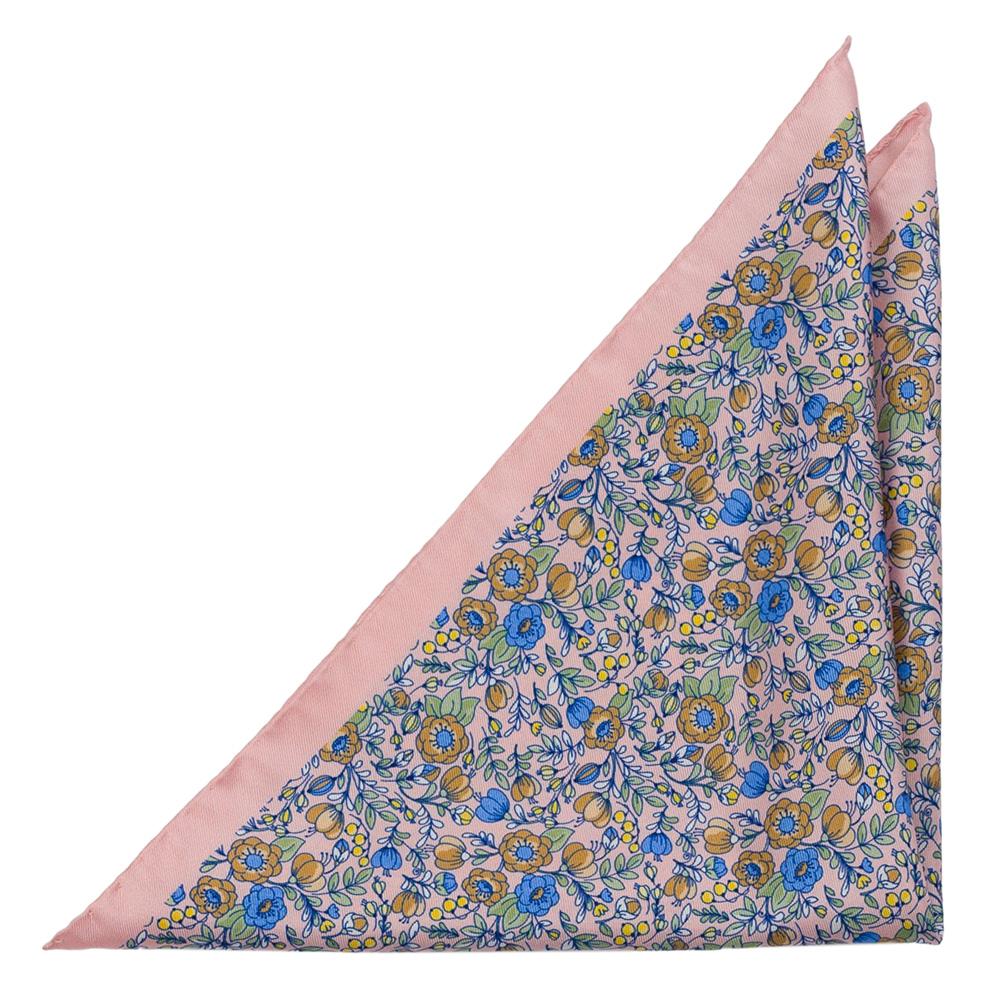 Bröstnäsduk i Siden - Blå, beige, gröna & vita blommor på blekrosa