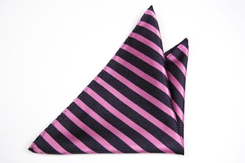 Bröstnäsduk i Siden - Mörkblå botten och ränder i ljus rosa - Notch GIDEON