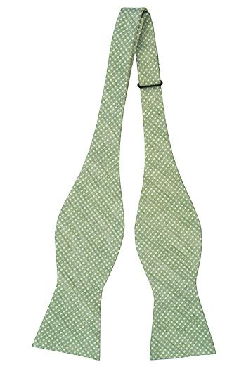 Oknuten Fluga i Linne - Blekgrönt linne med små diamantprickar