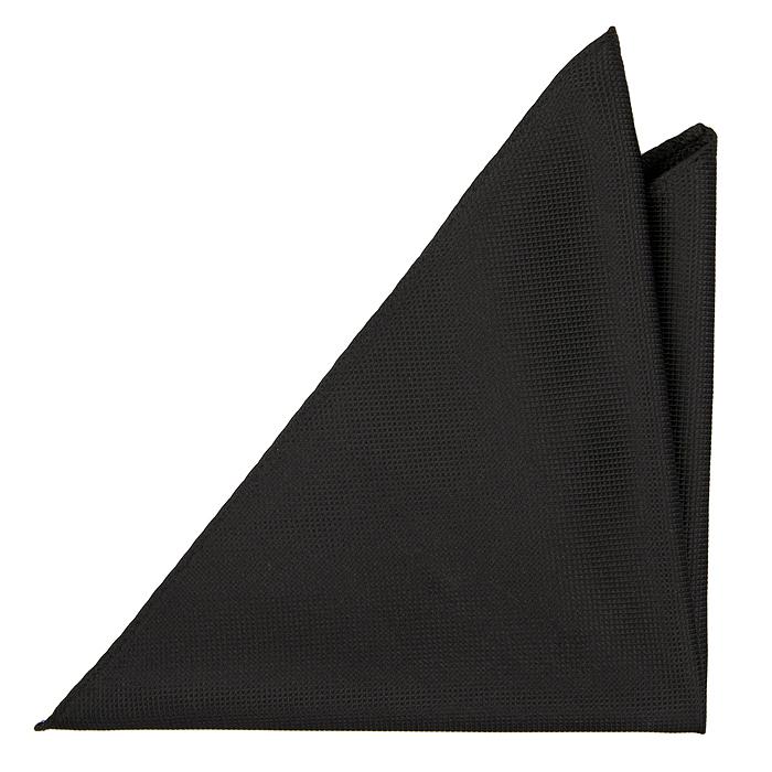 Bröstnäsduk i Siden - Diskret rutstruktur enfärgad i svart - Notch GINO