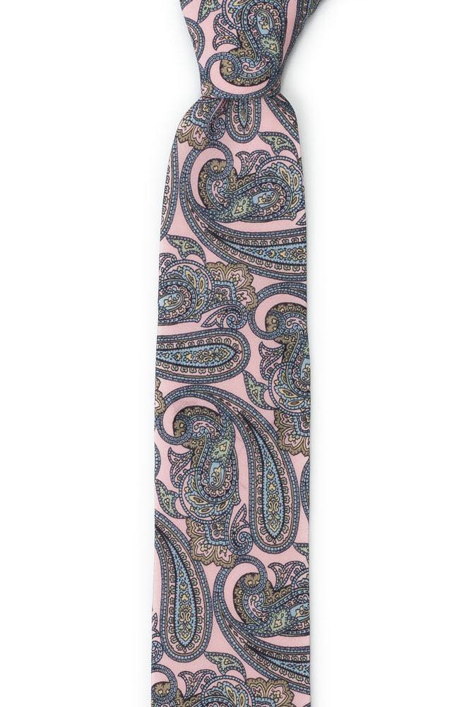 Smal Slips i Siden - Sirlig paisley på ljusblått dusty pink (blekrosa)