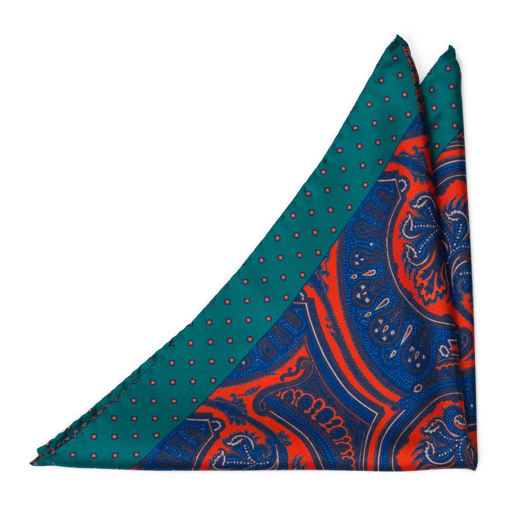 Bröstnäsduk i Siden - Multimönster i mörkblått, klarrött och grönt