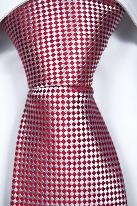 Slips i Siden - Minimalt rutmönster i rött och vitt - Notch HANK