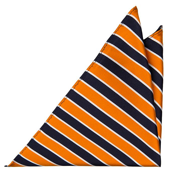 Bröstnäsduk i Siden - Ränder i marint, orange och vitt - Notch HAWK