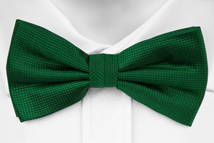 Knuten Fluga i Siden - Diskret rutstruktur enfärgad i grön - Notch HECTOR