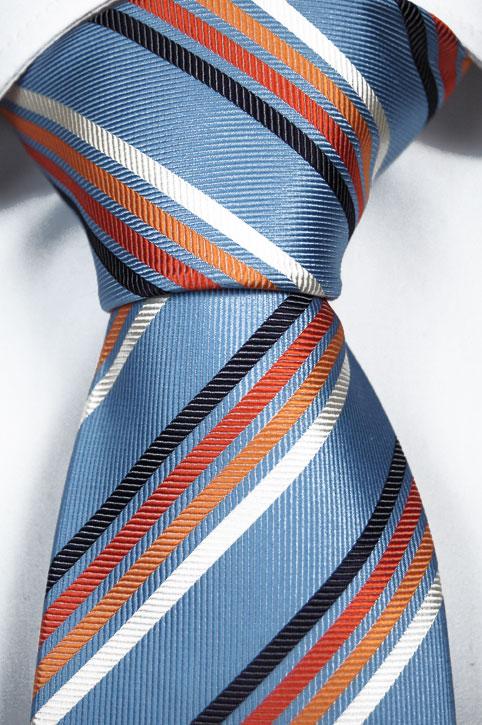 Slips i Siden - Ljusblå bas och ränder i mörkblå, orange och vit - Notch HENRY