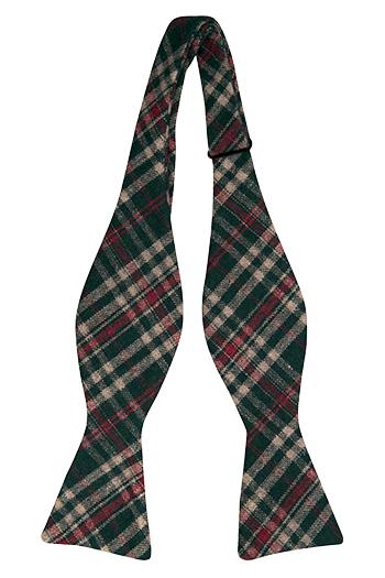 Oknuten Fluga i Ull - Skotskrutigt mönster i grönt, rött och beige