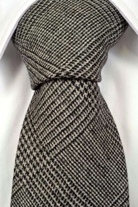 Slips i Ull - Glencheck mönster i grått och svart - Notch IBRAHIM