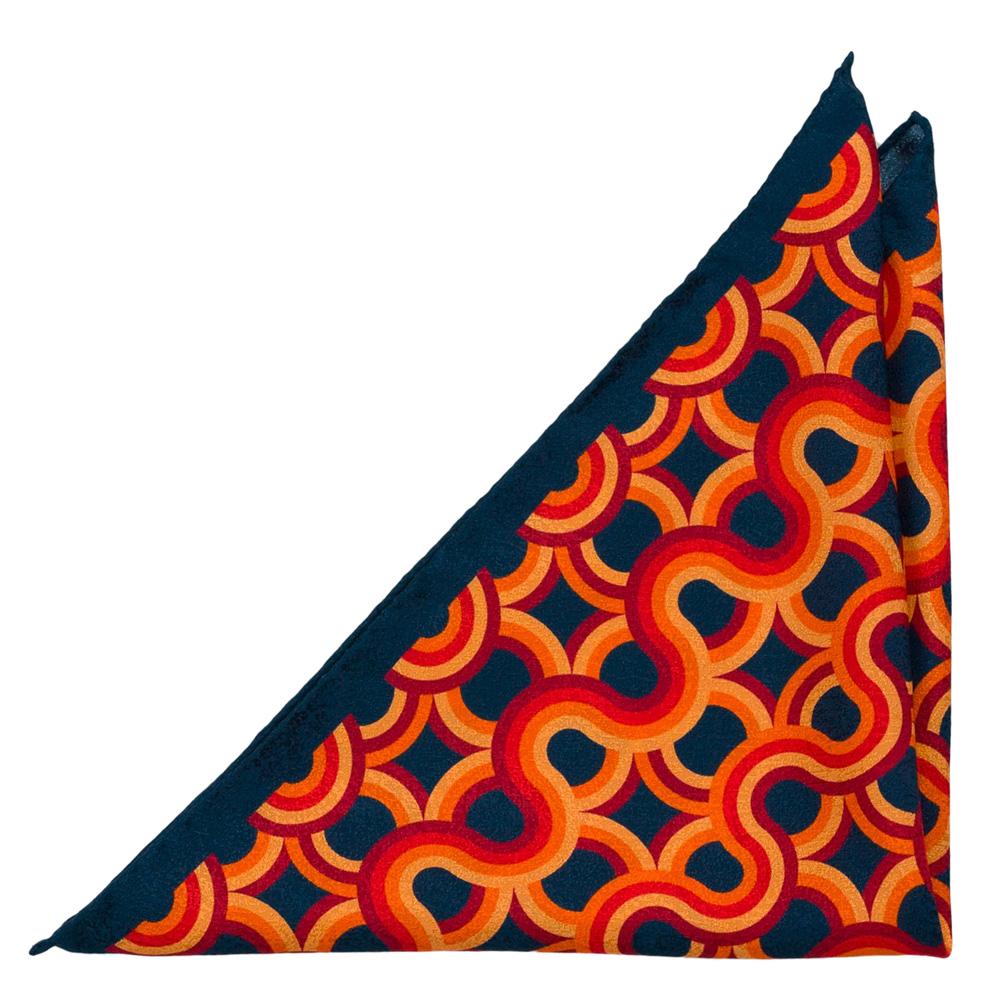Bröstnäsduk i Siden - Marinblå, orange, gult och rött retro-design
