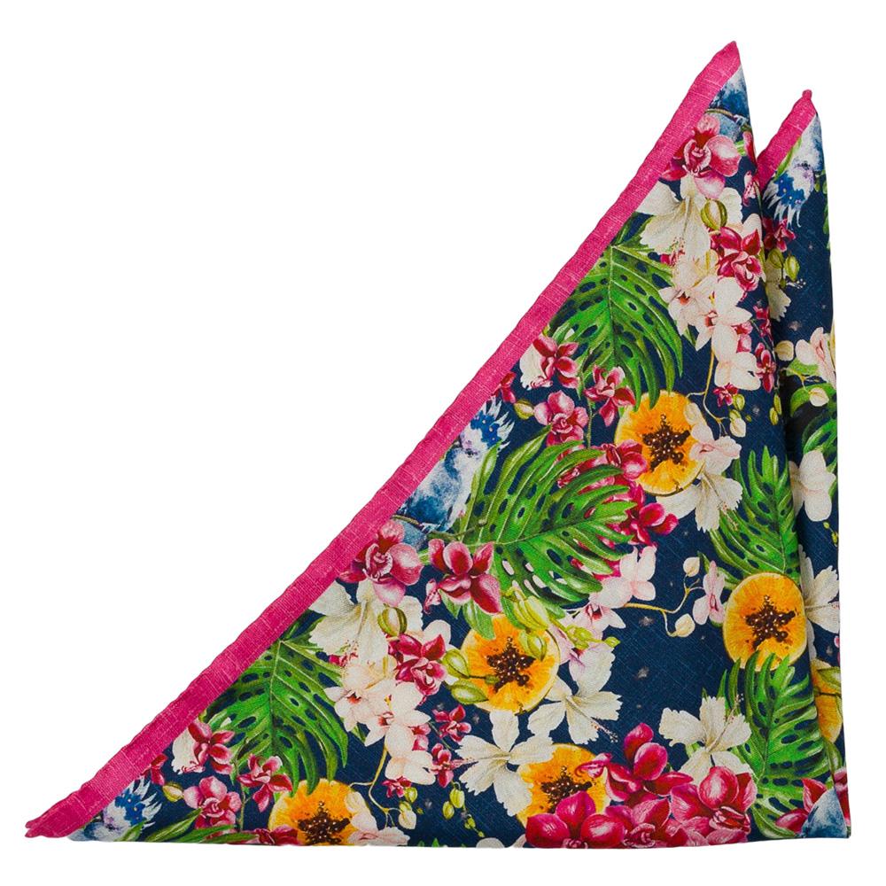 Bröstnäsduk i Siden - Stora, tropiska blommor i flera färger på beige