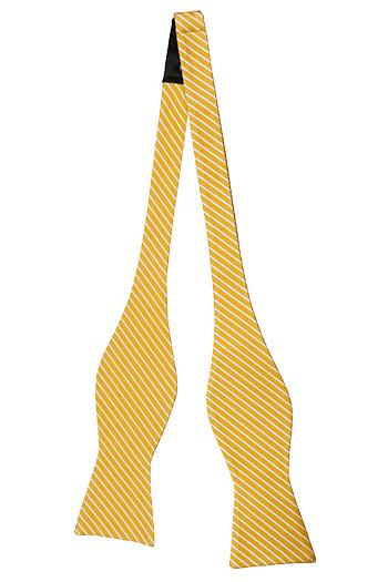 Oknuten Fluga i Siden - Guldgul twill (kypert), täta vita ränder - Notch KAPONO