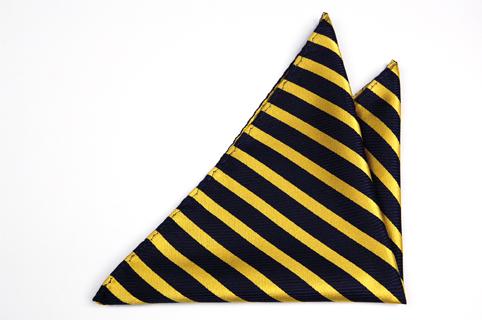 Bröstnäsduk i Siden - Mörkblå botten och ränder i gult - Notch MALCOLM