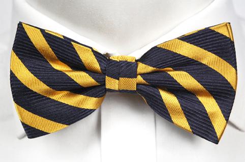 Knuten Fluga i Siden - Mörkblå botten och ränder i gult - Notch MALCOLM