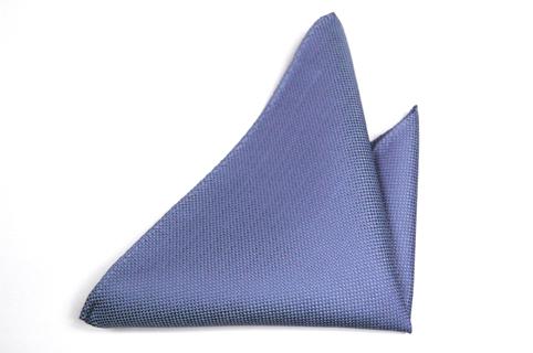 Bröstnäsduk i Siden - Enfärgad blå botten och en fyrkantig struktur