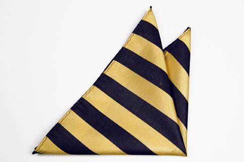 Bröstnäsduk i Siden - Ränder i mörkaste marinblått och gult - Notch MARK