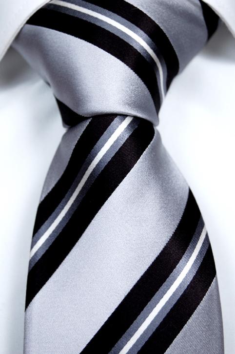 Slips i Siden - Grå botten och ränder i svart, vitt och grått - Notch MARTIN