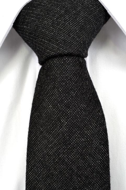 Smal Slips i Ull - Enfärgad svart botten med inslag av ljusgrått - Notch MATTEUS