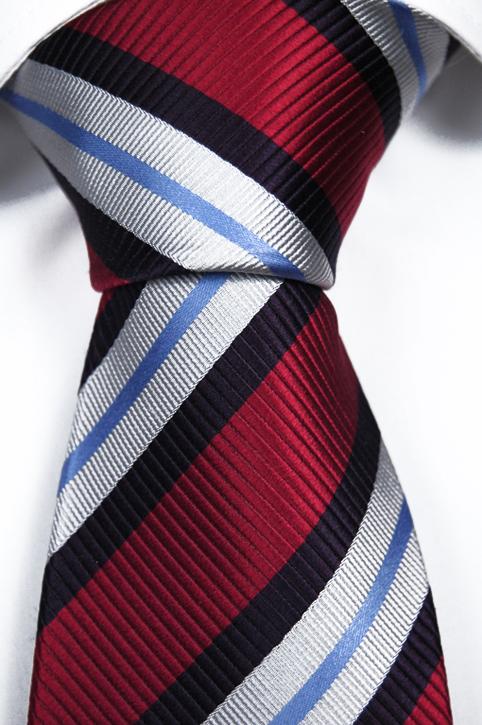 Slips i Siden - Röd botten och ränder i vitt och blått - Notch MAURICE