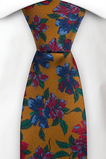 Slips i Siden - Senapsgul bas med blommor och blad i många färger