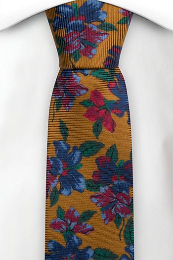 Smal Slips i Siden - Senapsgul bas med blommor och blad i många färger
