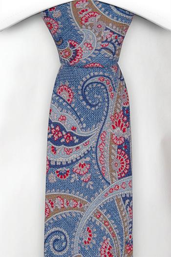 Smal Slips i Siden - Blå, röd, beige & vit paisley - Notch MEANDRO Blue