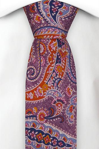 Smal Slips i Siden - Lila, orange, blå & skär paisley - Notch MEANDRO Purple